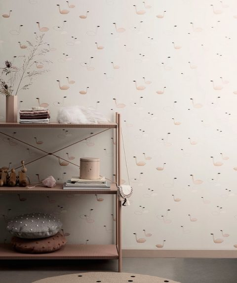 Ferm Living Swan Wallpaper Rose